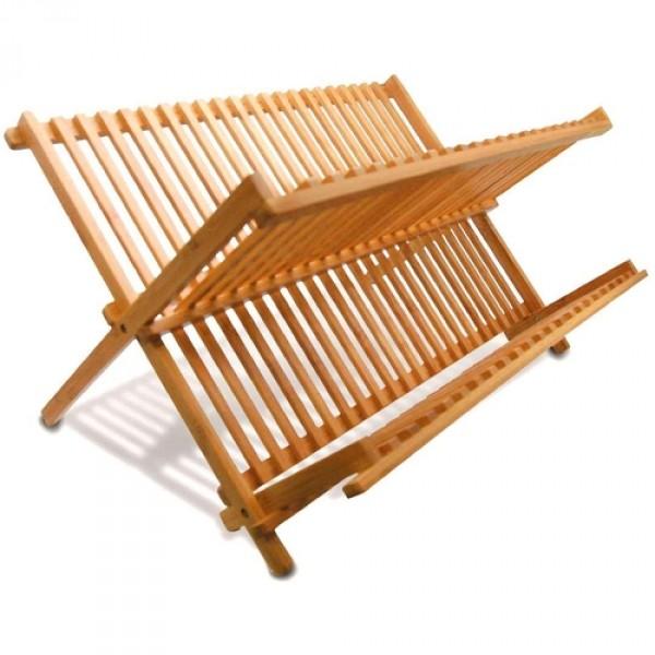 escorredor de louça pratos dobrável bambu