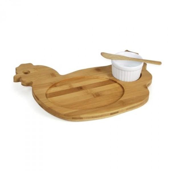 petisqueira modelo galinha em bambu