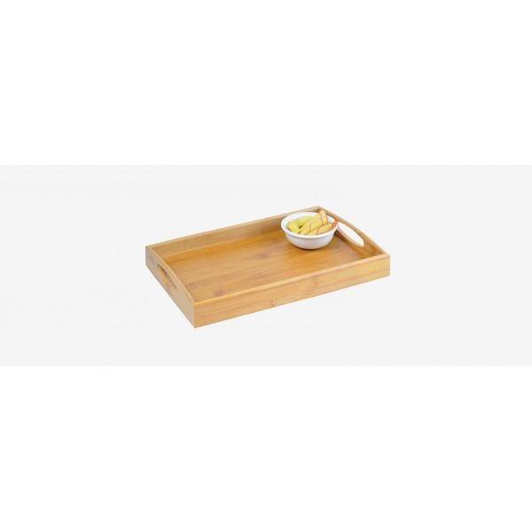 bandeja retangular com alça bambu p