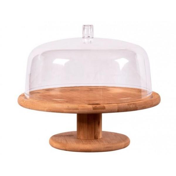 boleira de bambu com cúpula em acrilico  e pé
