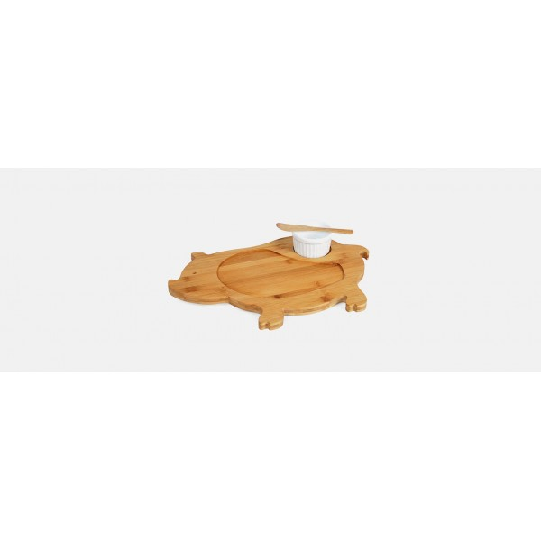 petisqueira modelo porco em bambu