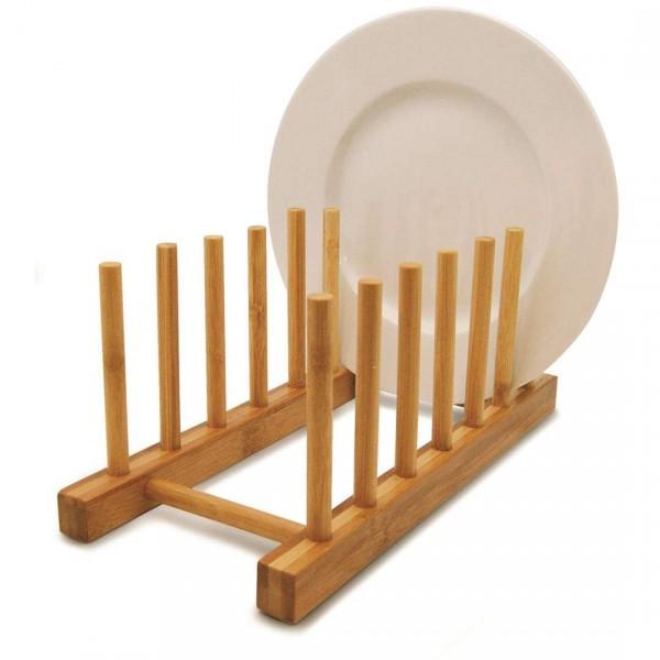 display de bambu para 6 pratos