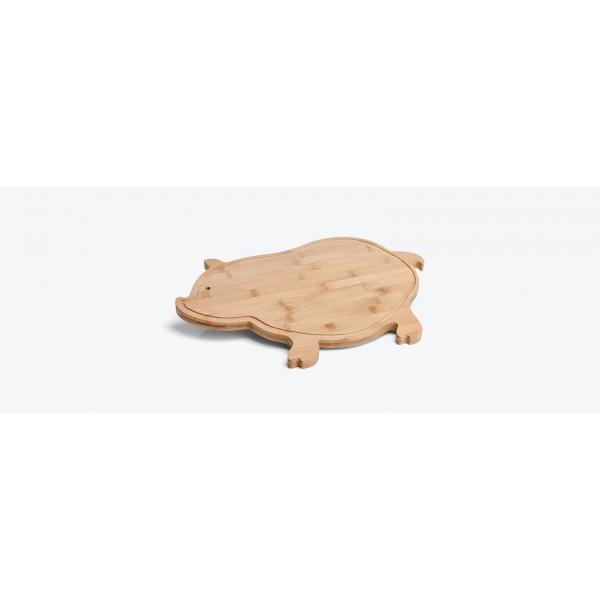 tábua em bambu com formato de porco