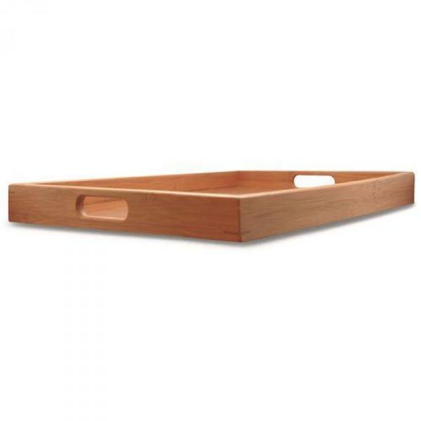 bandeja retangular com alça bambu g