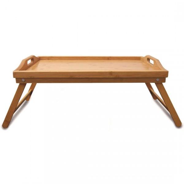 bandeja de cama com pe em bambu