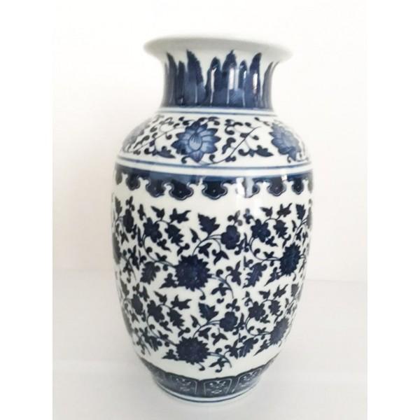 vaso de porcelana branco e azul grande