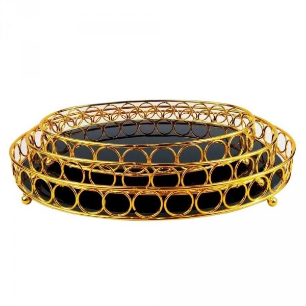bandeja oval dourada metal e vidro onyx 3 peças