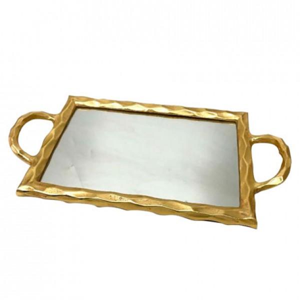 bandeja em metal espelhada dourada