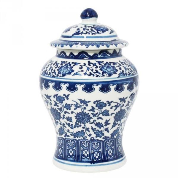 vaso potiche beihai silhueta branco e azul em porc...