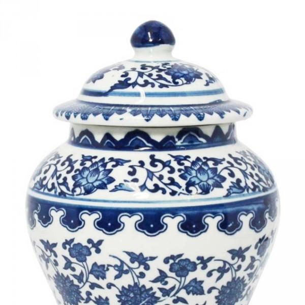 vaso potiche beihai silhueta branco e azul de porcelana
