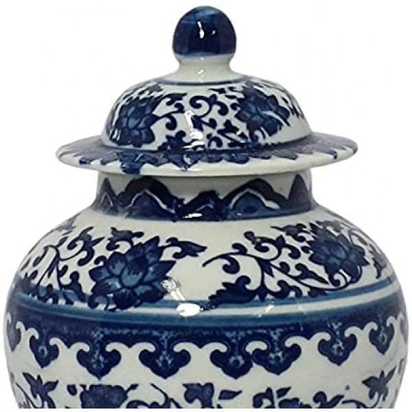 vaso potiche tianjin pequeno branco e azul de porcelana