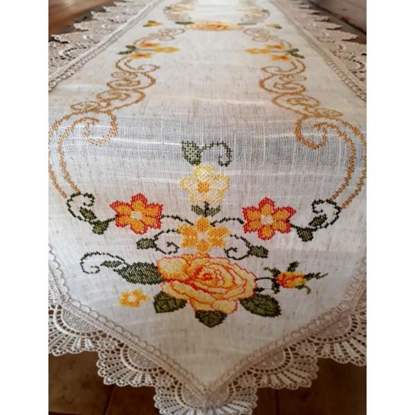 caminho de mesa linho bordado