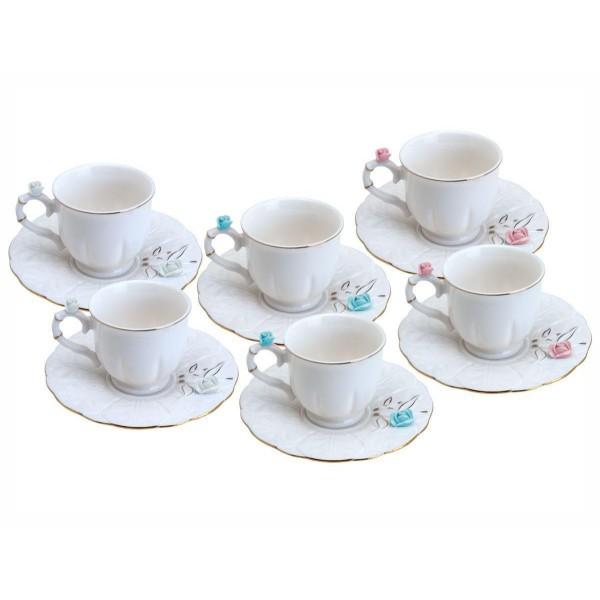 jogo 6 xícaras café porcelana flower round plate...