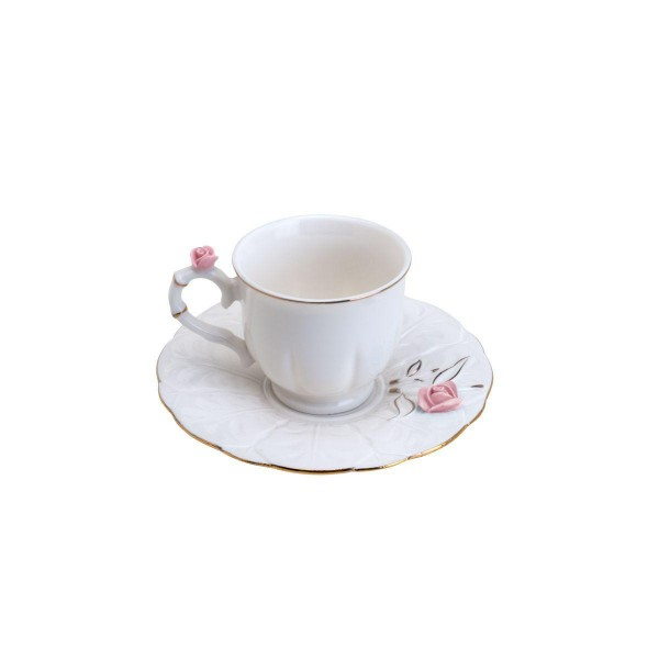 jogo 6 xícaras café porcelana flower round plate colorido 100ml