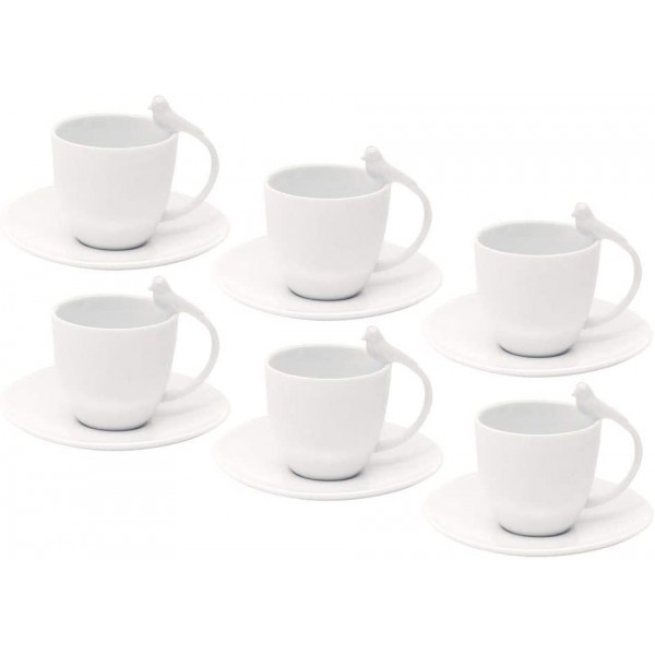 jogo 6 xícaras chá porcelana birds branco 200 ml