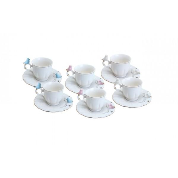 jogo 6 xícaras café porcelana birds round plate colorido 100 ml