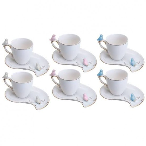 jogo 6 xícaras café porcelana  cute birds plate ...