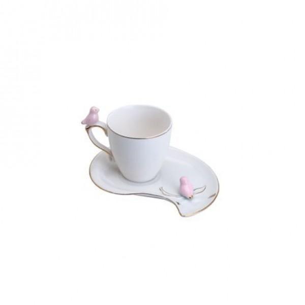jogo 6 xícaras café porcelana  cute birds plate colorido 90ml