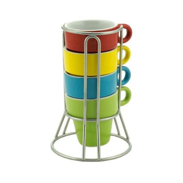 conjunto 4 xícaras café porcelana com suporte coloridas 60 ml