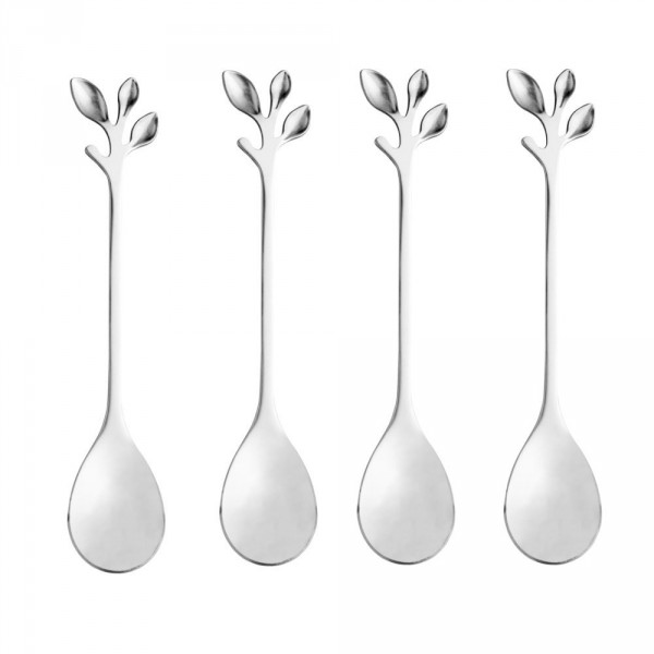 Conjunto colher chá 4 peças inox leaves prata