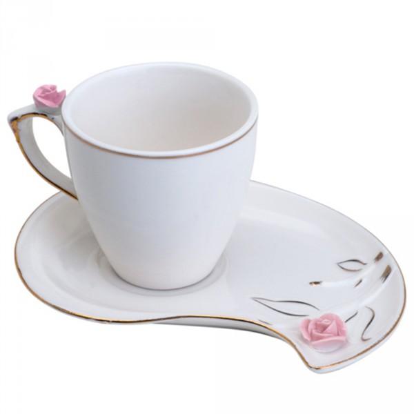 jogo 6 xícaras café porcelana flower plate colorido 90 ml