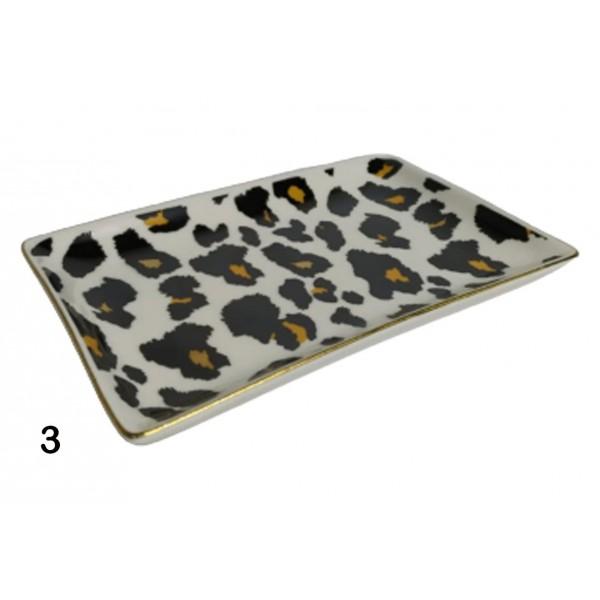 prato multifuncional animal print em porcelana mini