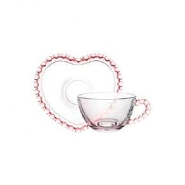 xícara café 80 ml coração rosa