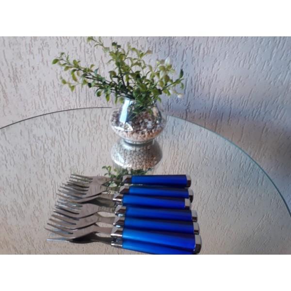 conjunto 6 garfos sobremesa inox cabo azul