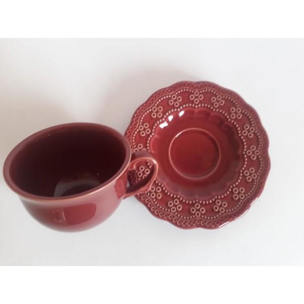 jogo 4 xícaras chá com pires vinho premium