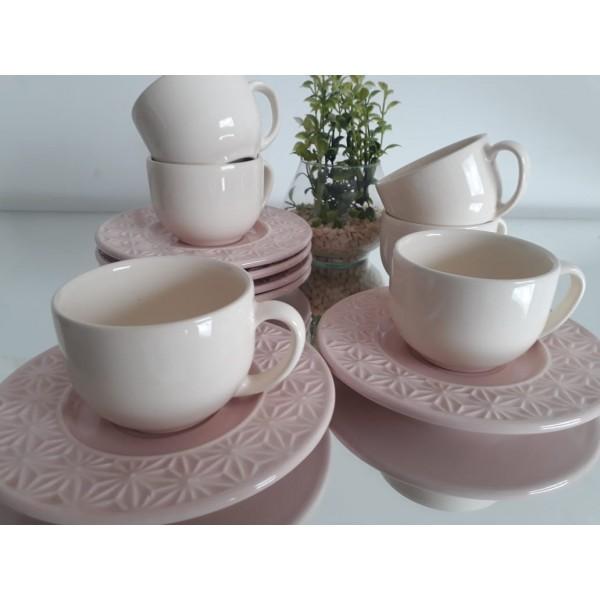 jogo 6 xícaras chá rose pires manish