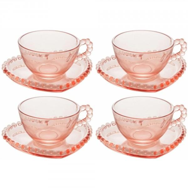 jogo 4 xícaras chá pearl rosa 180ml