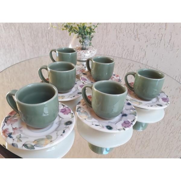 jogo 6 xícaras café verde com pires floral