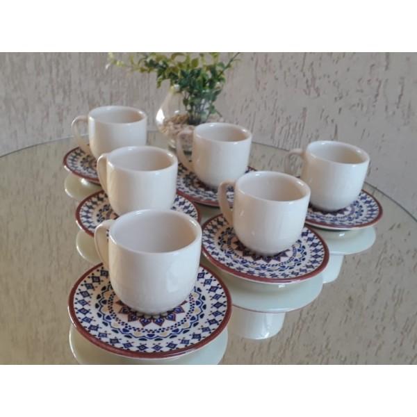 jogo 6 xícaras café cru com pires mandala