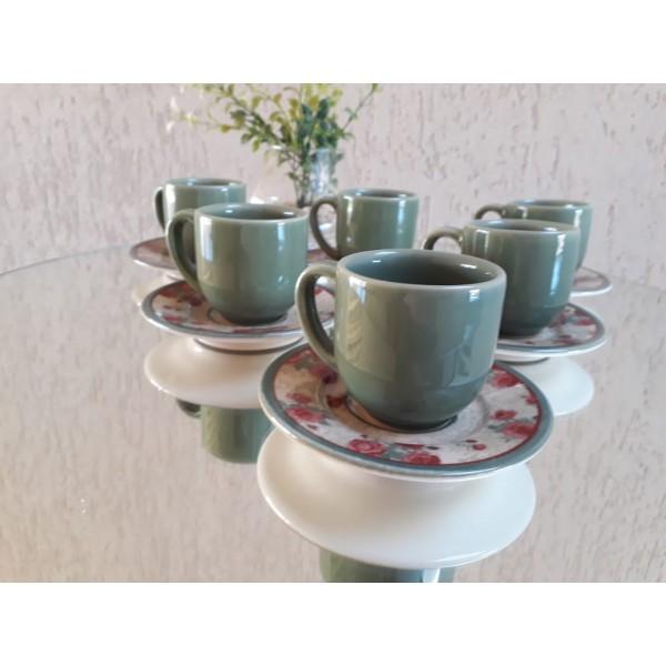 jogo 6 xícaras café verde sálvia com pires flor...