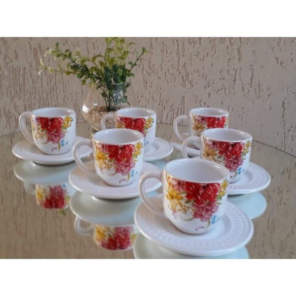 jogo 6 xícaras café floral com pires branco