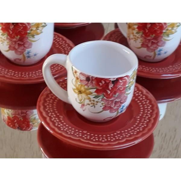jogo 6 xícaras café floral com pires  vermelho