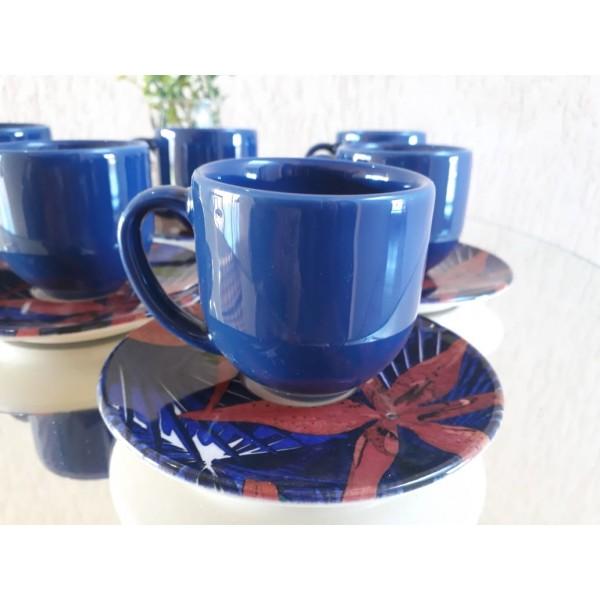 jogo 6 xícaras café azul com pires lírio platin...