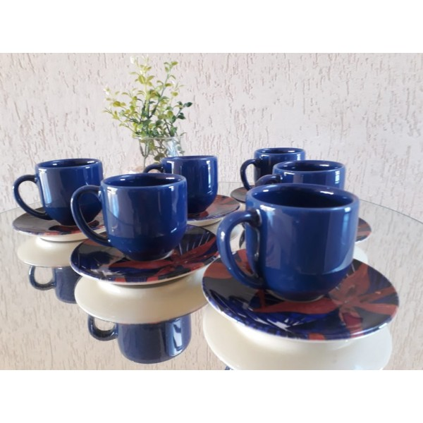 jogo 6 xícaras café azul com pires lírio platinum