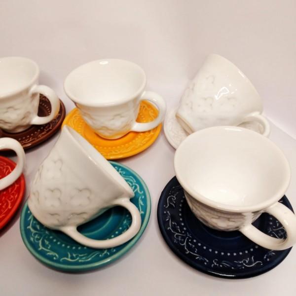 jogo 6 xícaras café pires acanthus colors