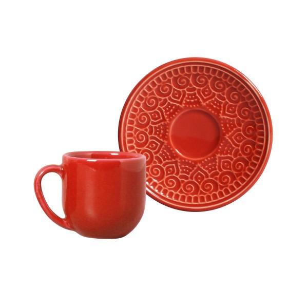 jogo 6 xícaras café agra vermelho