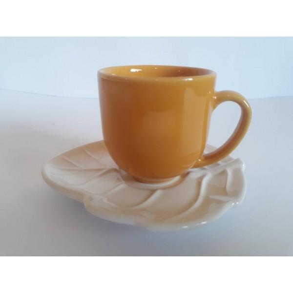 jogo 6 xícaras café mostarda com pires folha bra...