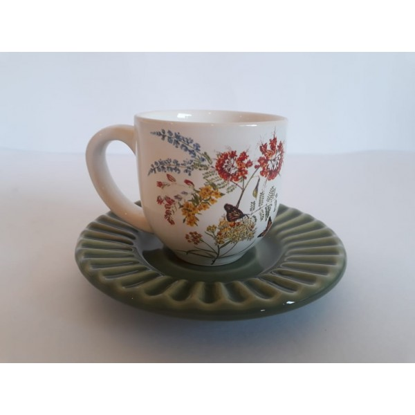 jogo 6 xícaras café flower com pires verde