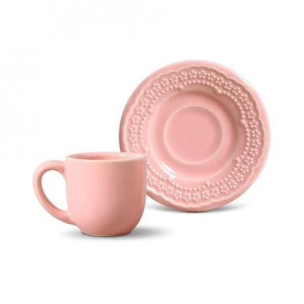jogo 6 xícaras café madeleine rosa