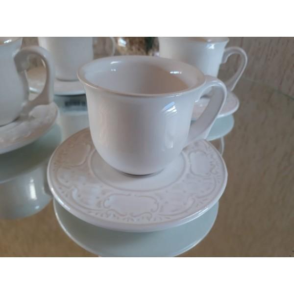 jogo 4 xícaras café  premium branco