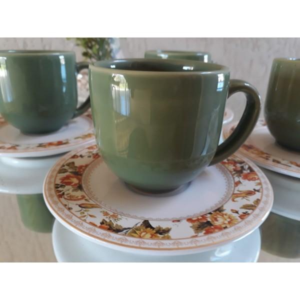 jogo 4 xícaras café verde com pires floral