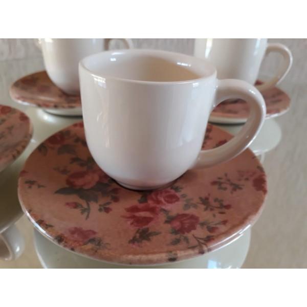 jogo 4 xícaras café cru e floral