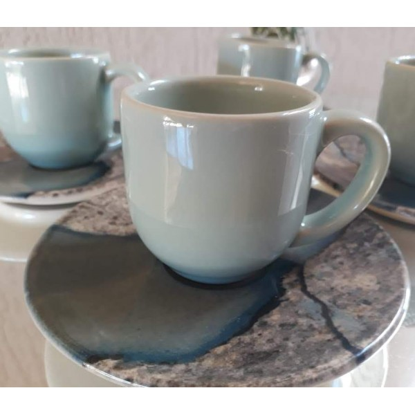 jogo 4 xícaras café verde claro com pires stone