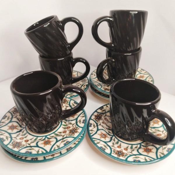jogo 6 xícaras café preto com pires