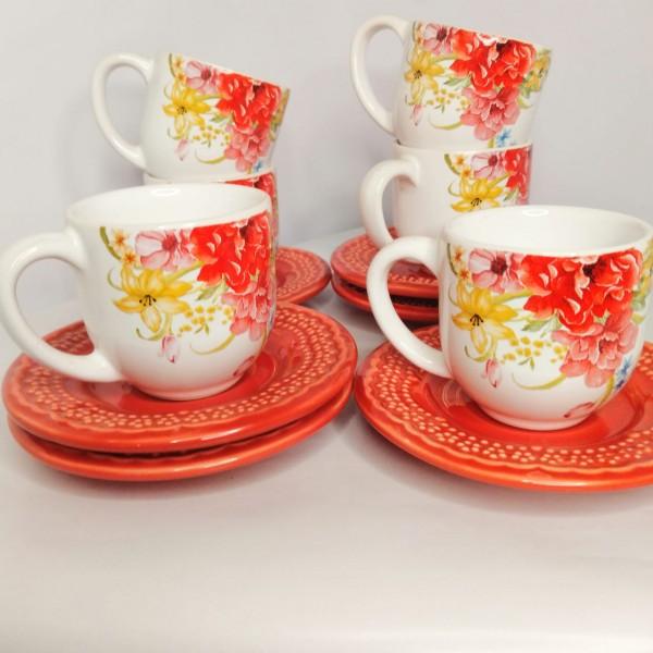 jogo 6 xícaras café floral com pires madeleine