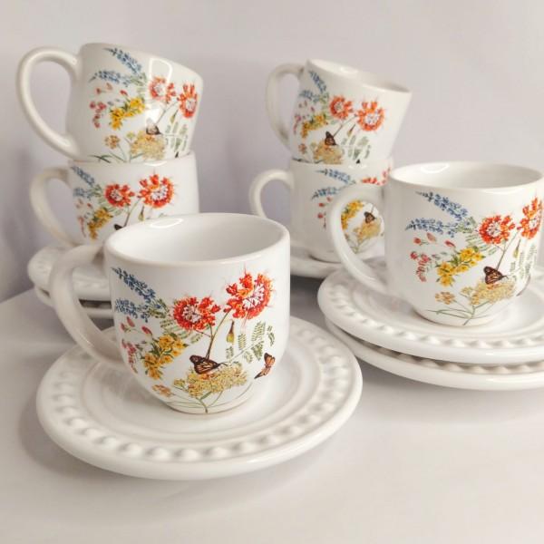 jogo 6 xícaras café  flower com pires branco